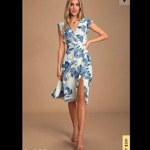 Bliss Seeker Blue & White Floral Print Midi Dress